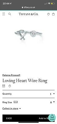 Tiffany Paloma Picasso Love Heart Wire Ring Size 6 • 280£