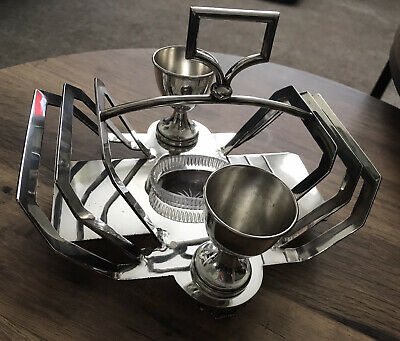 Antique Silver Plated Egg Cup And Toast Rack Set With Glass Salt  • 40£