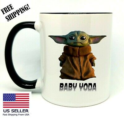 $14.99 • Buy Baby Yoda, Star Wars, Birthday, Christmas Gift, Black Mug 11 Oz, Coffee/Tea