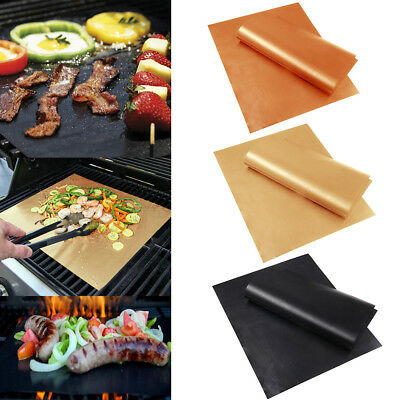 AU9.99 • Buy BBQ Grill Mat Reusable Bake Sheet Resistant Teflon Meat Barbecue Non-Stick TH AU