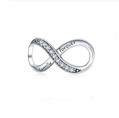 AU25.99 • Buy SOLID Sterling Silver Sparkling Family Forever Infinity Charm By Pandora's Wish