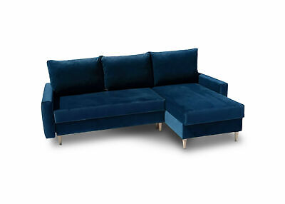 Corner Sofa Bed With Storage Velvet Fabric Blue Green Living Room Office Study • 380£