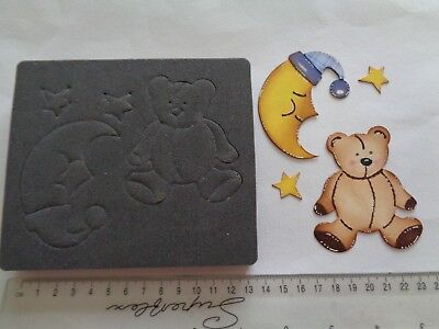 Accucut Bedtime Moon & Teddy Bear Craft Wooden Die Cutter ~ Ideal For New Baby • 15£