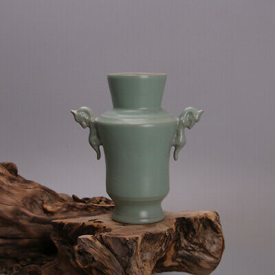 £72 • Buy 5.8  Collect Chinese Porcelain Green Glaze Two Dragon Ear Your Vase