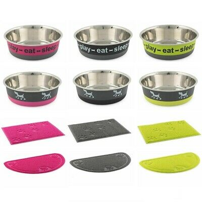 Ancol Fusion Dog Bowl Stainless Steel Puppy Food & Water Dish Or PVC Feeding Mat • 6.95£