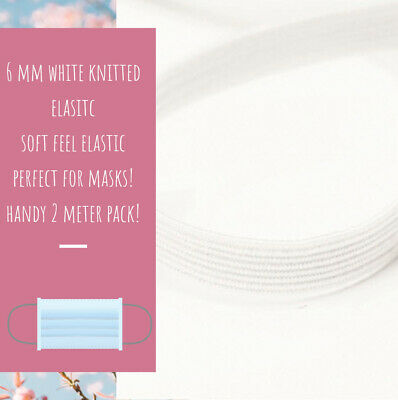 $ CDN3.43 • Buy 6 Mm WIDE - SOFT WHITE KNITTED ELASTIC - FLAT AND SOFT - 2 METER PACK -