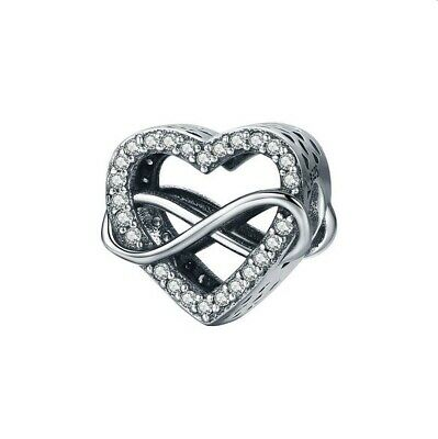 AU25.99 • Buy SOLID Sterling Silver Sparkling Infinity Heart Of Love  Charm By YOUnique Design