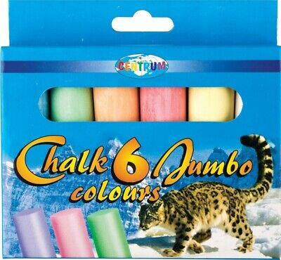 6Pc JUMBO COLOURED CHALK Pavement Outdoor Floor Game Art Drawing Chunky Large • 4.99£