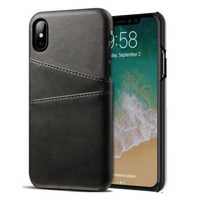 AU5.99 • Buy Black PU Leather Slots Card Holder Cover Case For IPhone X / Xs / XR / Xs Max