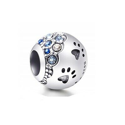 AU25.99 • Buy SOLID Sterling Silver Sparkling Paw Prints Blue CZ By Pandora's Wish
