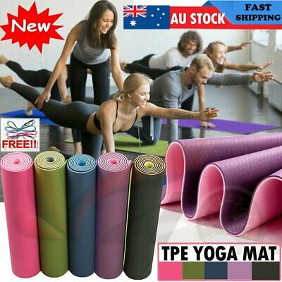 AU29.90 • Buy 6MM Dual Layer TPE Yoga Mat Gym Mat Fitness Exercise Pilates Non Slip Sports Eco