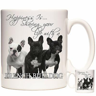 FRENCH BULLDOG Gift Coffee Mug / Tea Cup. Kazmugz Exclusive. Happiness Is • 12.99£