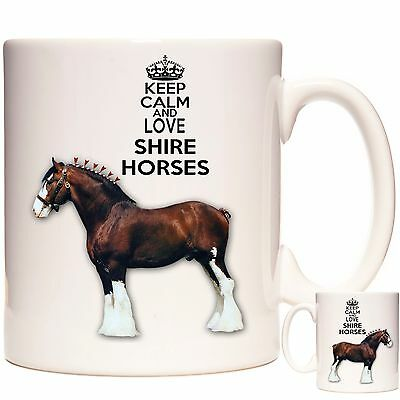 SHIRE HORSE Gift Coffee Mug / Tea Cup. Kazmugz Exclusive. Keep Calm Shire Horses • 12.99£
