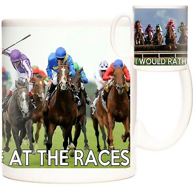 £12.99 • Buy HORSE RACING Gift Coffee Mug / Tea Cup. Kazmugz Exclusive. I Would Rather Be At