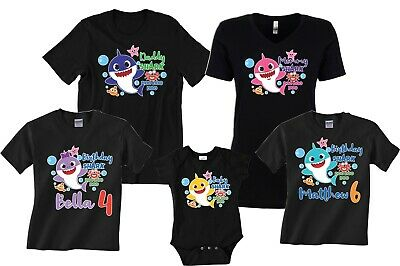 $12.99 • Buy Baby Shark Mommy Daddy Shark Party Family Shark Birthday Boy/girl Black T-Shirts