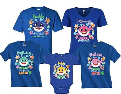 $12.99 • Buy Baby Shark Mommy Daddy Shark Party Family Shark Boy/girl Birthday Blue T-Shirts