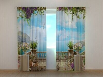 3D Photo Curtain Printed Terrace By The Sea Arch By Wellmira Made To Measure • 32.92£