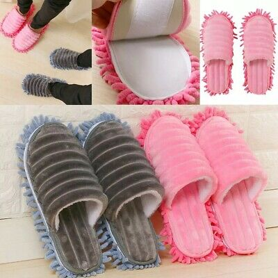 1 Pair Grey Pink Mop Slippers Floor Buffing Cleaning Microfibre Dusting  • 15.99£