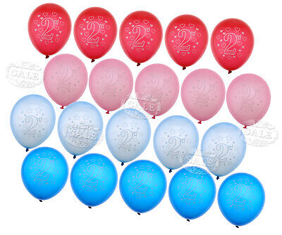 AU16.75 • Buy 20Pcs Blue/Pink Baby 2nd Birthday Printed Heart Latex Round Balloons Party Decor