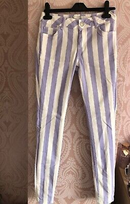 Womens Denim Stripped Purple And White Jeans Newlook Size 8 • 3.75£
