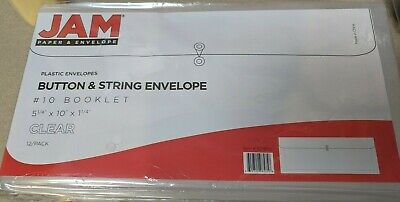 Jam Paper #10 Plastic Business Envelope With Button And String Tie Closure, 12Pk • 13.74£