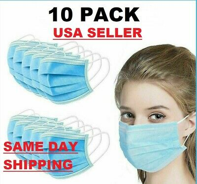 $7.49 • Buy 10 PCS Face Mask Medical Surgical Dental Disposable 3-Ply Earloop Mouth Cover