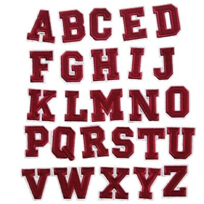 Red Letter Alphabet Patch Iron On /Sew On Clothes Patches Embroidery Name Craft • 1.09£