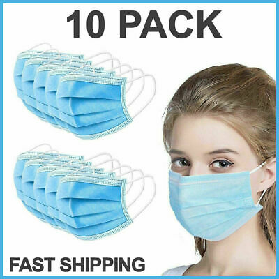 $9.09 • Buy 10 PCS Face Mask Medical Surgical Dental Disposable 3-Ply Ear-loop Mouth Cover