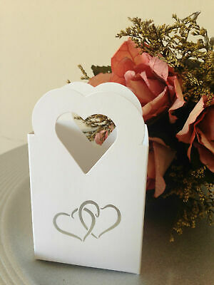 White Wedding, Engagement, Anniversary, Party Cake Favour Boxes Table Decoration • 14.99£