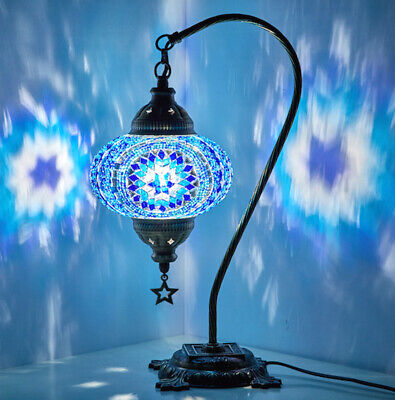 Turkish Moroccan Mosaic Colorful Swan Table Bedside Desk Lamp Lampshade, Blue • 38.57£