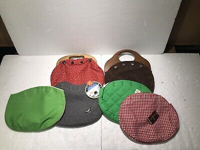 $30 • Buy Bermuda Bags With Wooden Handles & 6 Covers! Pearl Buttons Vintage 60s 70s