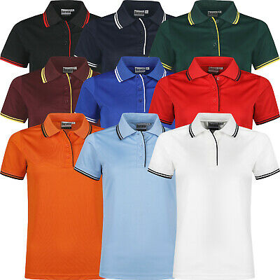 New Womens Polo Shirts Ladies Tipped Breathable Short Sleeve Anti Bacterial Top • 4.99£