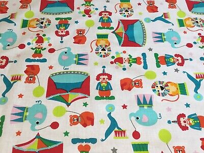 Circus Pattern - Clowns, Lion, Seals Fabric Fat Quarter 50 X 50cm Craft Sewing • 2£