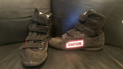 $80 • Buy Used Simpson Racing Shoes Boots Black High Top Driving Shoes Men's Size 9
