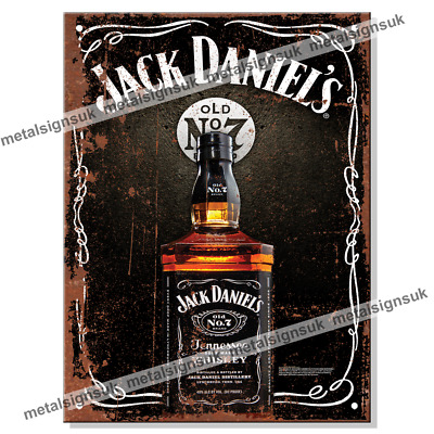 Metal Signs - JACK DANIELS (Bottle) Whiskey Retro Wall Man Cave Whisky Tin Sign • 6.95£