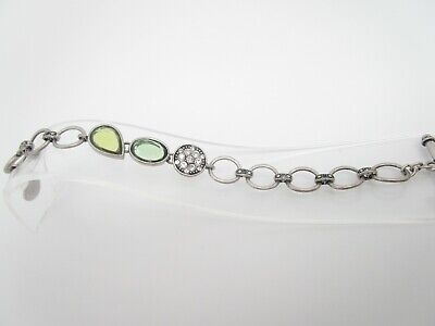 $ CDN2.66 • Buy Lia Sophia Green Lucite Rhinestones Chain Links Toggle Bracelet 7  Long