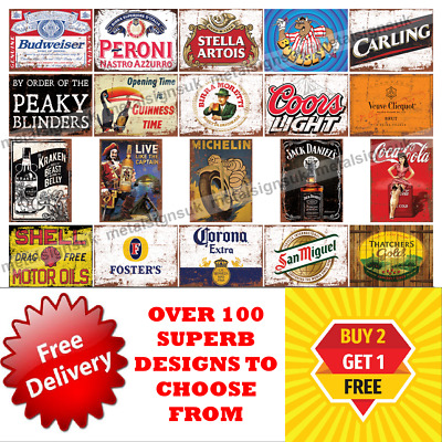 Metal Signs Man Cave Retro Pub Bar Vintage Wall Plaque Beer Garage Shed Tin Cafe • 4.95£