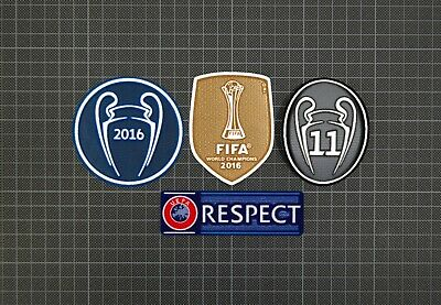 £10 • Buy UEFA Champions League & RESPECT Sleeve Patches/Badges 2016/2017 Real Madrid