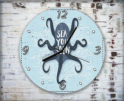 Nautical Octopus Sea Artwork Wall Clock Home Office Bedroom Living Room Kitchen • 16.95£