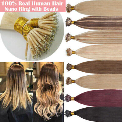 $30.96 • Buy Ombre NANO Ring Beads Human Remy Hair Extensions Pre Bonded Keratin Full Head T3