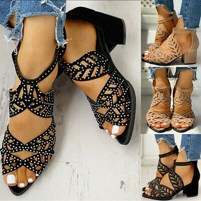 Womens Hollow Out Sandals Ladies Chunky Block Heels Peep Toe Summer Party Shoes • 8.59£