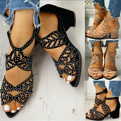 Womens Hollow Out Sandals Ladies Chunky Block Heels Peep Toe Summer Party Shoes • 11.68£