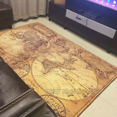 World Map Nautical Carpet Floor Mat Home Non-slip Area Rugs Rectangle Vintage • 89.47£