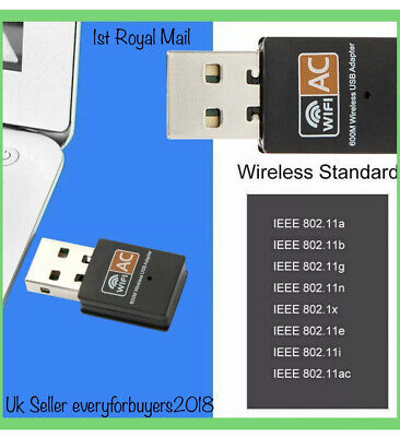 600 Mbps 2.4-5ghz USB Dual Band Wireless Adapter WiFi Dongle 802.11 AC Laptop PC • 5.99£