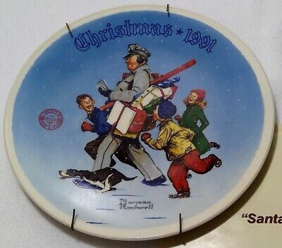 $ CDN66.66 • Buy Norman Rockwell Christmas 1991 Plate Decoration Santa's Helper New Original A38