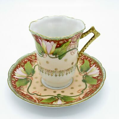 $9.98 • Buy Antique Lotus Flower Pattern Cup And Saucer, NR