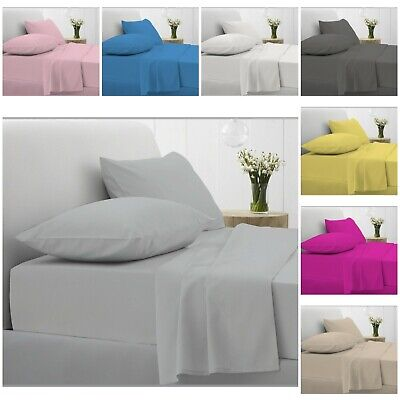 Full Fitted Sheet Bed Sheets 100% Egyptian Cotton Single Double Super King Size • 11.99£