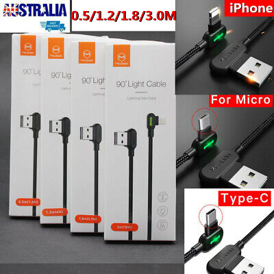 AU19.99 • Buy TITAN POWER+ Smart Cable IPhone Type-C Micro-USB LED Elbow Charging Cable