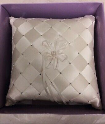 Ivory / Pearl CRYSTALS Ring Pillow Wedding Ring Bearer Cushion BLING • 10.76£