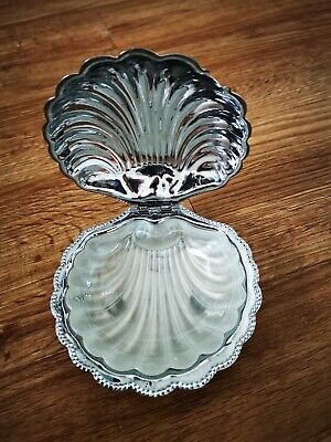 E&JL Vintage ART DECO Silver Plated CLAM SHELL Butter Glass Dish Spreader • 15£